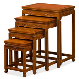 Natural Finish Rosewood Chinese Key Motif Nesting Tables