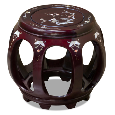 Dark Cherry Rosewood Petite Mother of Pearl Inlay Asian Round Stool