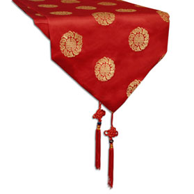 110 Inch Red Silk Chinese Longevity Table Runner
