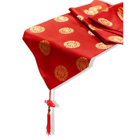 72 Inch Red Silk Chinese Longevity Table Runner