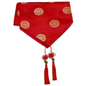 96 Inch Red Silk Chinese Longevity Table Runner