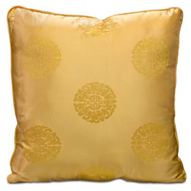 Gold Chinese Silk Pillow (#1)