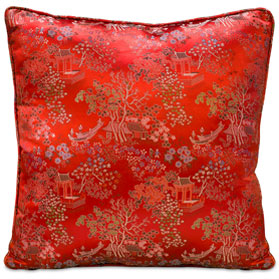 Red Chinese Silk Pillow (#17)
