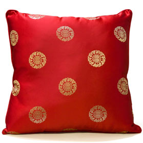 Red Chinese Silk Pillow (#33)