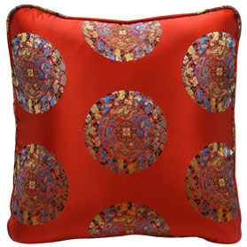 Red Chinese Silk Pillow (#36)