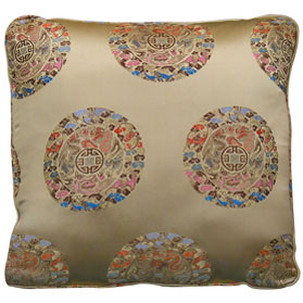 Light Gold Chinese Silk Imperial Dragon Longevity Pillow