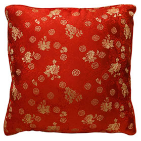 Red Chinese Silk Pillow (#89)