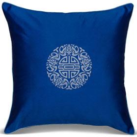 Royal Blue Chinese Silk Longevity Pillow