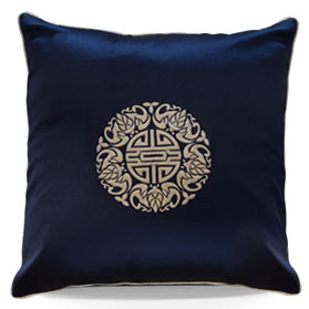 Midnight Blue Chinese Silk Longevity Pillow