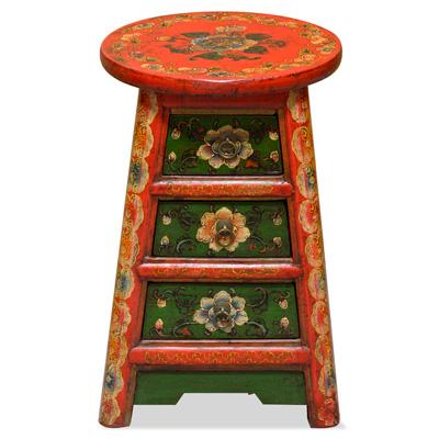 Floral Tibetan Bench