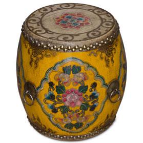 Orange Floral Ceremonial Tibetan Drum