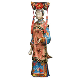 Chinese Porcelain Figurine, Qing Dynasty Noble Lady