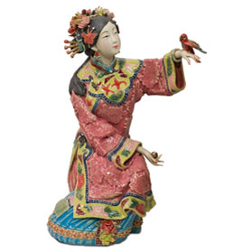 Chinese Porcelain Figurine, Lady with Bird