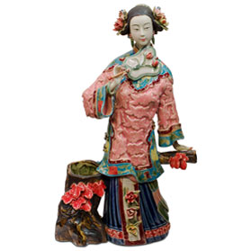 Chinese Porcelain Figurine, Lady with Autumn Maple Leaves