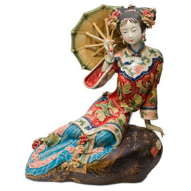 Chinese Porcelain Figurine, Lady in Red with Umbrella