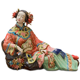 Chinese Porcelain Figurine, Qing Dynasty Lady in Spring Garment