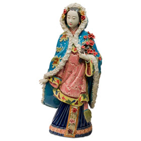 Chinese Porcelain Figurine, Lady in Winter Coat