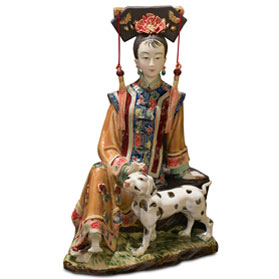 Chinese Porcelain Figurine, Qing Dynasty Lady with Dalmatian