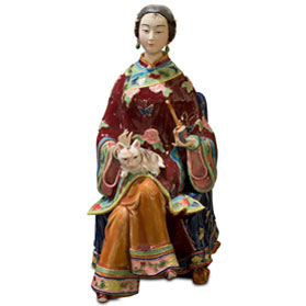 Chinese Porcelain Figurine, Qing Dynasty Lady with Cat