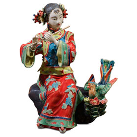 Chinese Porcelain Figurine, Shi Wan Lady with Flute