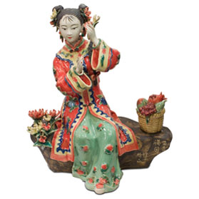 Chinese Porcelain Figurine, Shi Wan Lady in Red