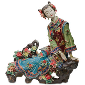 Chinese Porcelain Figurine, Shi Wan Lady with Cherry Blossoms