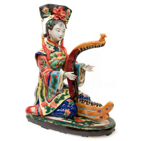 Chinese Porcelain Figurine, Shi Wan Lady Playing the Harp
