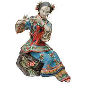 Chinese Porcelain Figurine, Shi Wan Lady Playing the Flute