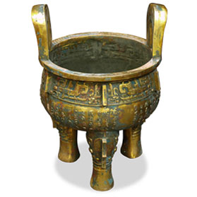 27 Inch Bronze Patina Imperial Inscribed Chinese Ding