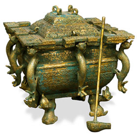 Bronze Patina Imperial Dragon Lidded Chinese Ding