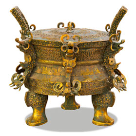 Bronze Patina Imperial Lidded Chinese Ding