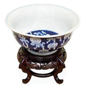 Blue and White Petite Pumpkin Motif Porcelain Bowl