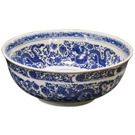 Blue and White Porcelain Dragon Motif Basin