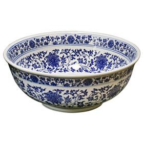Blue and White Porcelain Floral Motif Basin