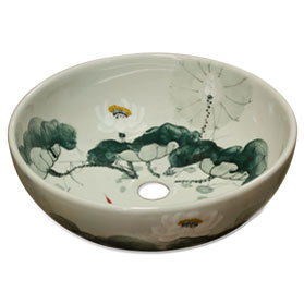 Porcelain Lotus Koi Pond Motif Basin