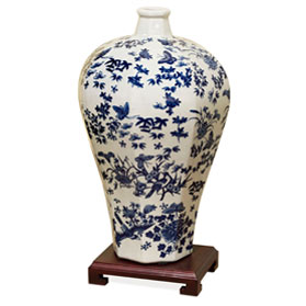 14.5 Inch Blue and White Porcelain Oriental Ming Vase