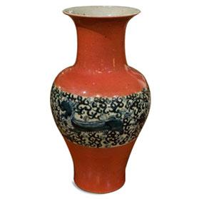 14.75 Inch Porcelain Qing Palace Mythical Foo Dog Vase