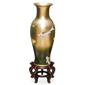 24 Inch Gold Leaf Prosperity Koi Fish Oriental Vase