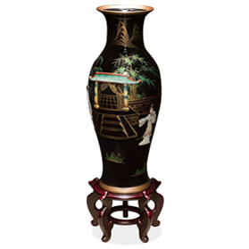 24 Inch Black Lacquer Mother of Pearl Oriental Porcelain Vase