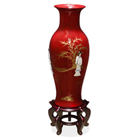 24 Inch Red Lacquer Mother of Pearl Oriental Porcelain Vase