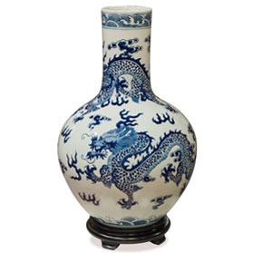 Blue and White Porcelain Imperial Dragon Motif Oriental Temple Vase