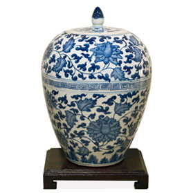 Blue and White Oriental Porcelain Melon Jar