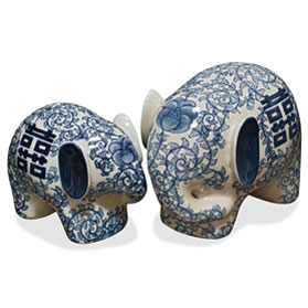Blue and White Porcelain Double Happiness Elephant Set