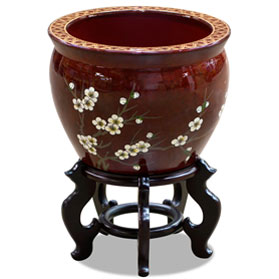 12 Inch Red Porcelain Cherry Blossom Chinese Fishbowl Planter