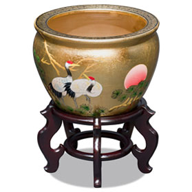 12 Inch Gold Leaf Longevity Cranes Chinese Fishbowl Planter