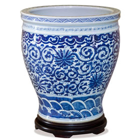 15.5 Inch Blue and White Canton Porcelain Flower and Vine Fishbowl Planter