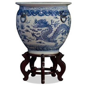 16 Inch Blue and White Porcelain Imperial Dragon Chinese Fishbowl Planter