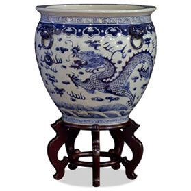 16 Inch Blue and White Porcelain Prosperity Dragon Canton Fishbowl Planter