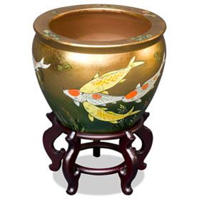 16 Inch Gold Prosperity Koi Design Chinese Fishbowl Planter