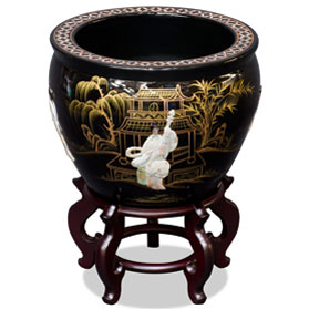 16 Inch Black Mother of Pearl Figurine Chinese Fishbowl Planter